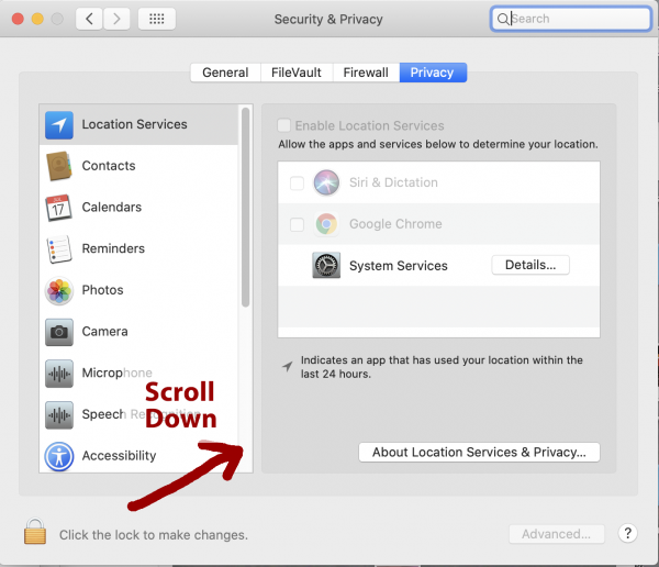 Screenshot of Catalina Systems Preferences panel with scroll bar highlighted