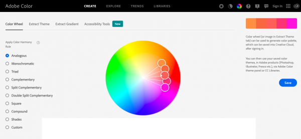 Screenshot of the Color-Adobe Color Wheel