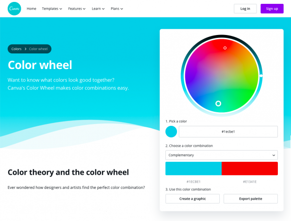 Screenshot of the Canva.Com color wheel