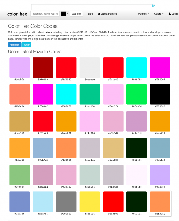 Screenshot of the Users Latest Favorite Colors Hex Color Codes