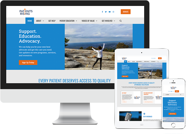 Patients Rising website on desktop, tablet and phone