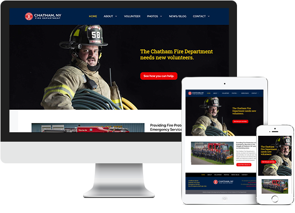 Chatham Fire Department website on desktop, tablet and phone